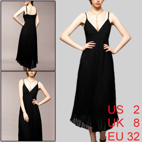 Woman Sweetheart Neckline Spaghetti Strap Black Long Dress XS