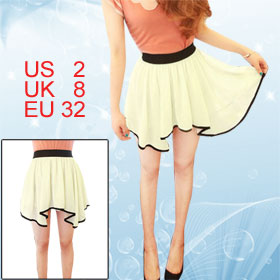 Ladies Off White Asymmetrical Mini Chiffon Skirt XS