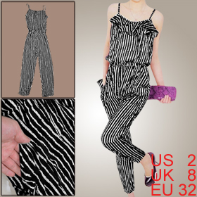 Women Spaghetti Straps Black White Striped Print Cropped Jumpsuit XS