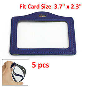 5 Pcs Blue Clear Faux Leather Plastic ID Name Work Card Holders