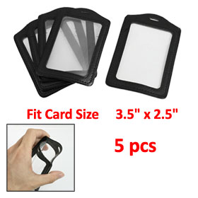5 Pcs Faux Leather Business ID Badge Card Vertical Holders Black
