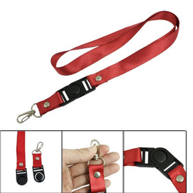 Red Nylon Lanyard Strap for Mobile Phone w Black Release Buckle