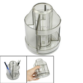 Gray Clear Plastic Round Rotating Stationery Pen Organizer Holder