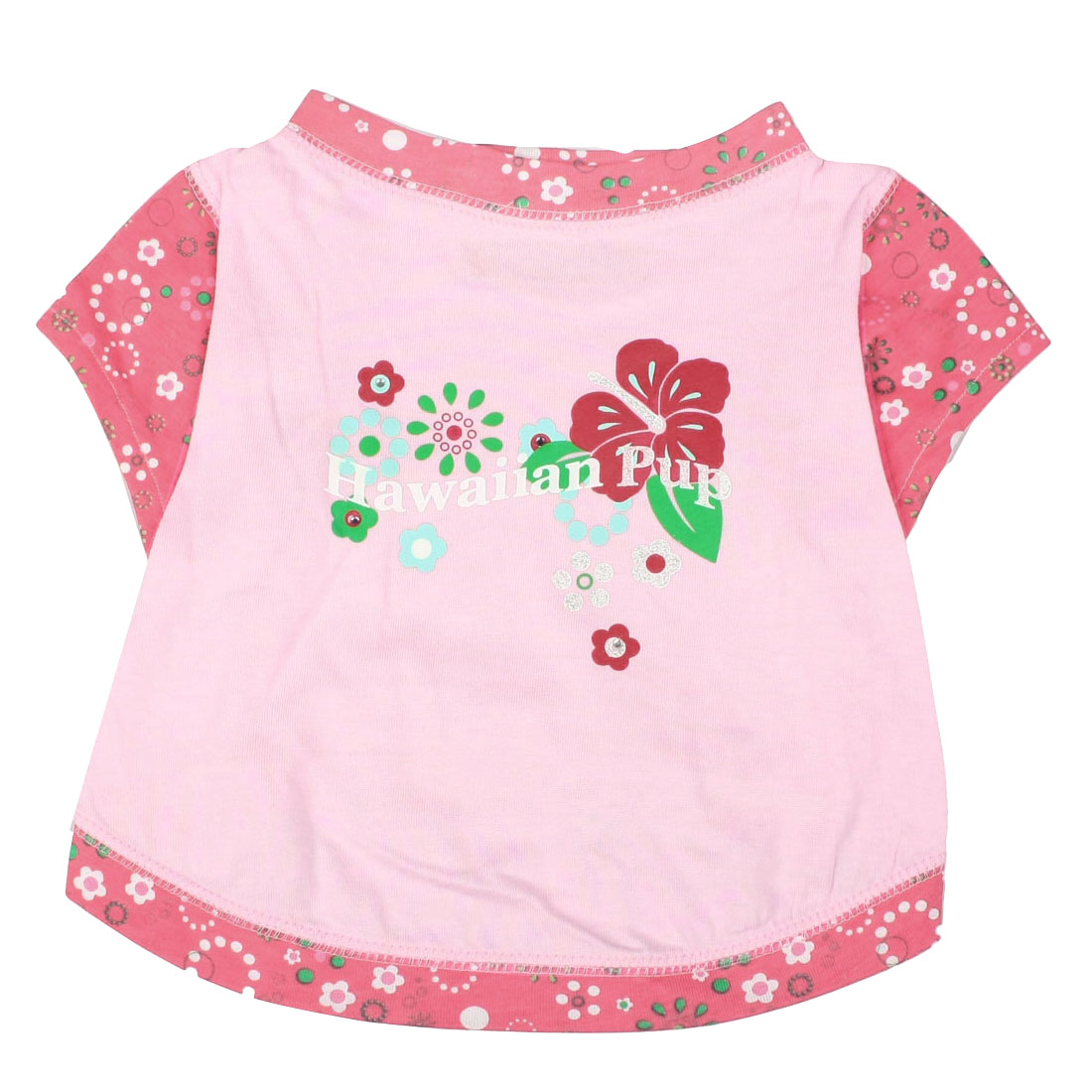 Size L Summer Short Sleeves Flower Pet Dog Clothes Pink Shirt Blouse Pullover