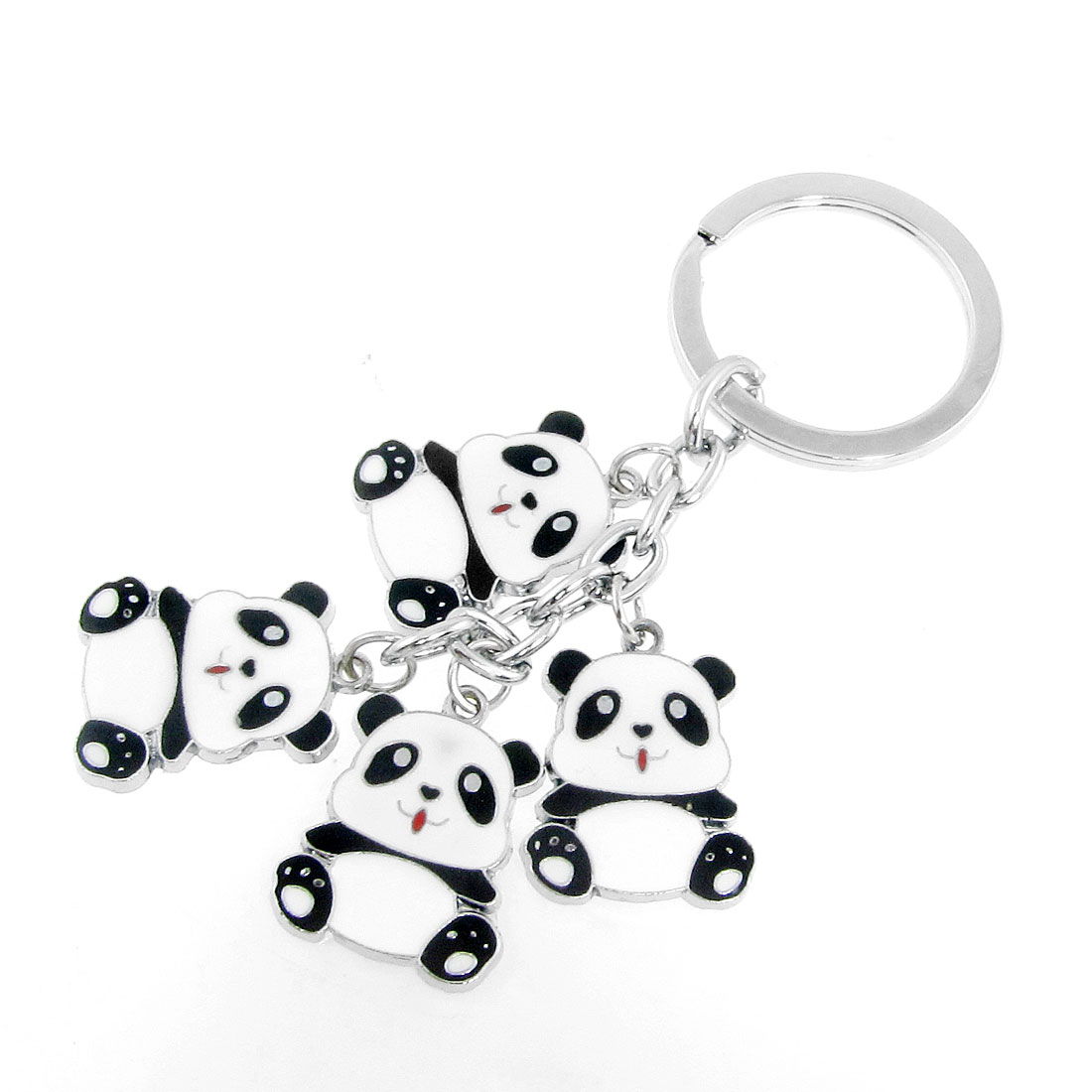 Lady Black White Panda Pendant Handbag Adornment Keys Holder Ring Keychain
