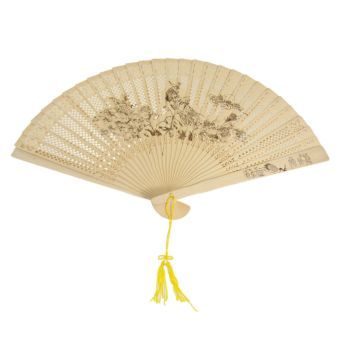 Craft Phoenix Print Folding Wooden Fragrant Hand Fan w Tassel