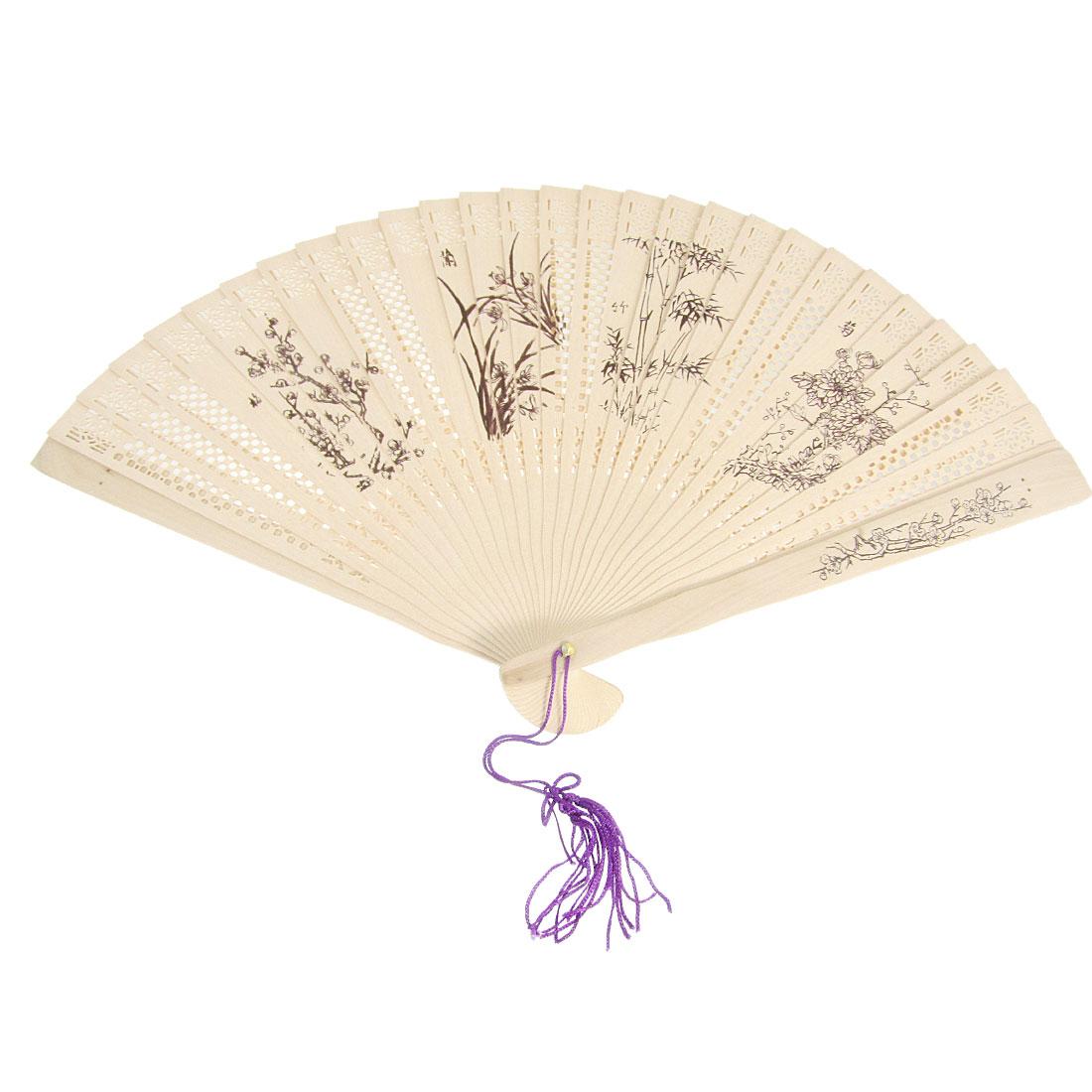 Craft Plants Print Wooden Carved Folding Hand Fan w Tassel
