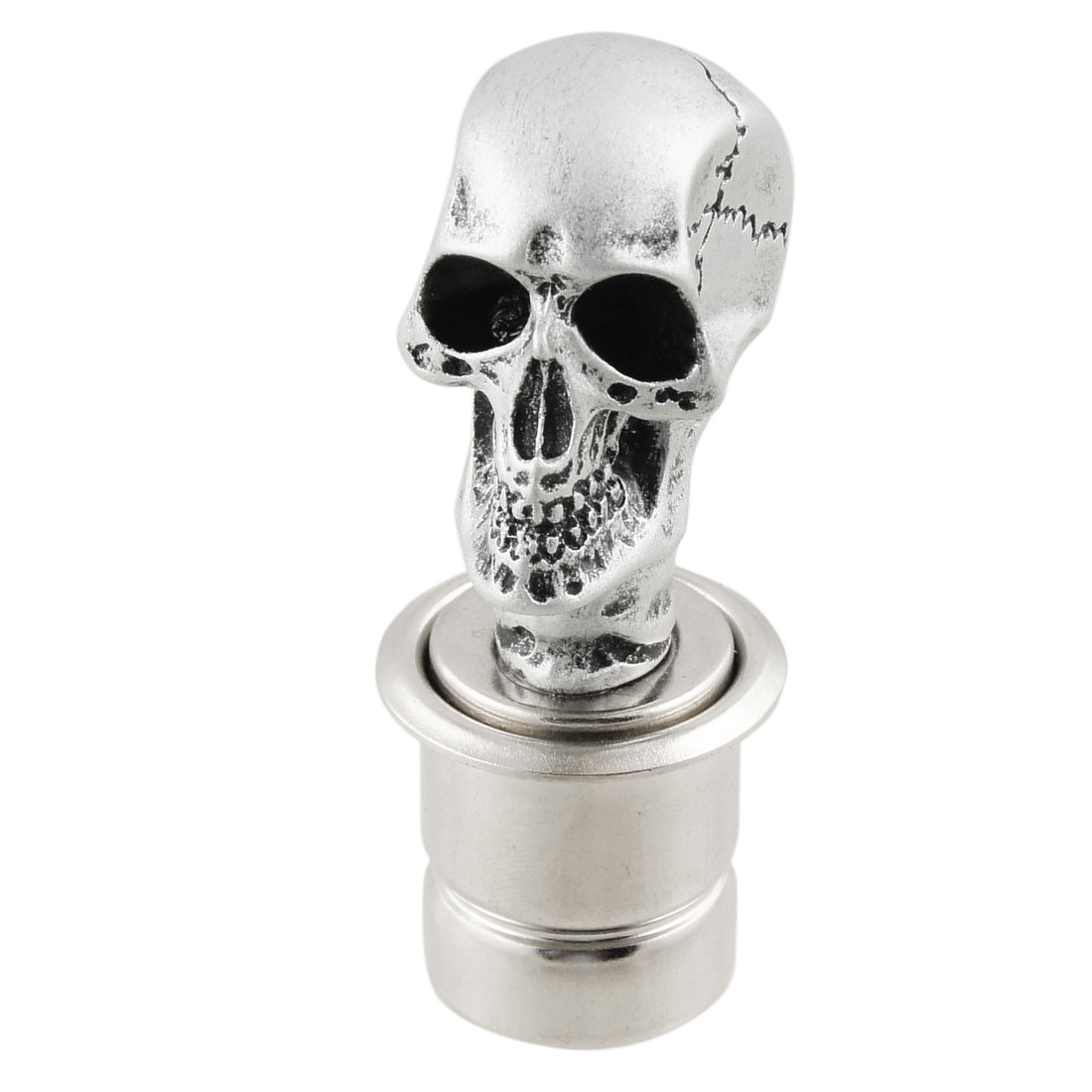 Vehicle Car Silver Tone Skull Head Design Cigarette Lighter Plug DC 12V