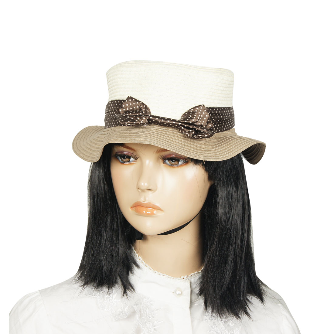 Ladies Dots Print Chocolate Color Band Decor Straw Boater Hat