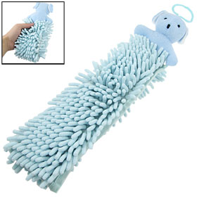 Doll Bear Shape Wall Hanging Hand Towel Washcloth Two Tones Blue
