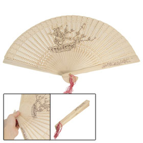 Craft Plum Blossom Print Folding Wooden Fragrant Hand Fan w Tassel