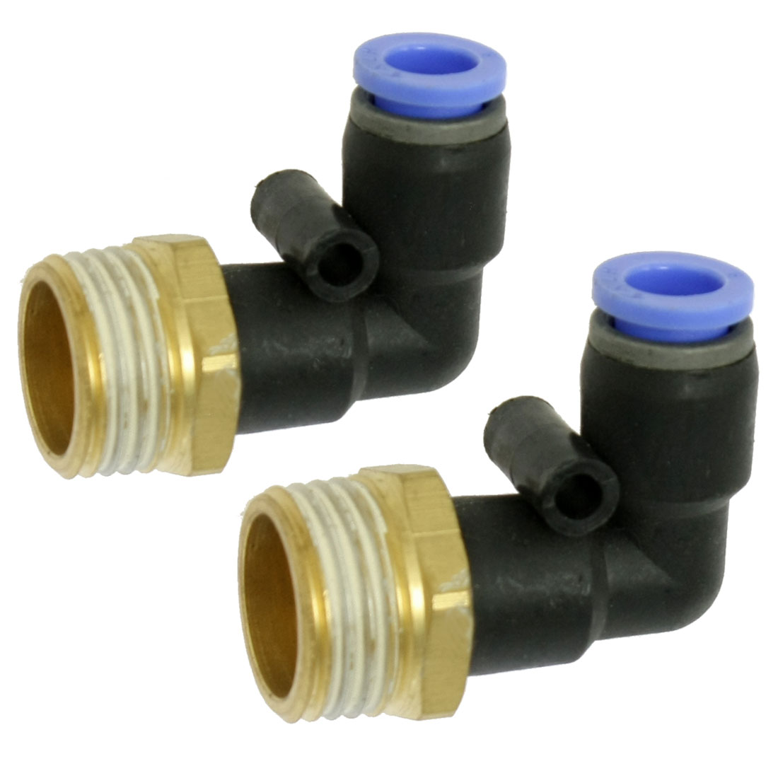 "2 Pcs Pneumatic 8mm x 1/2"" PT Elbow Type Tubing Quick Fittings"