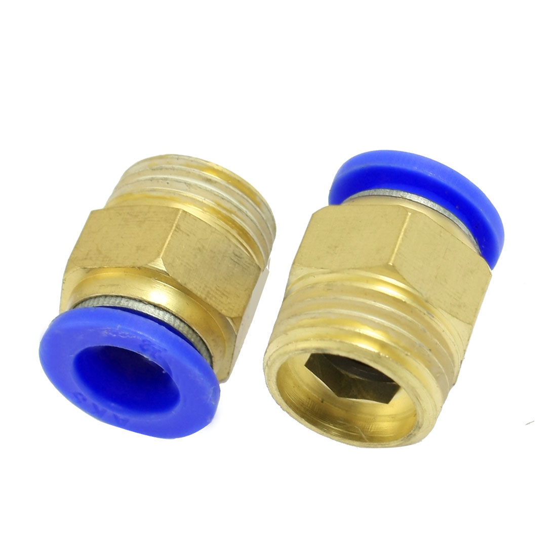 "12mm Tube Pneumatic Straight Quick Coupling 1/2"" Thread Brass Connector 2 Pcs"