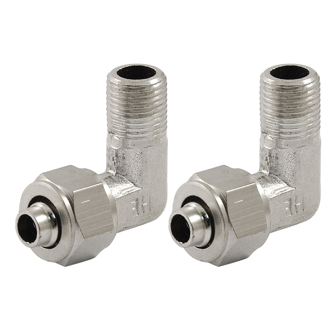 "2 x 1/8"" Male Thread 8mm Pipe Air Pneumatic L Shaped Quick Couplers"
