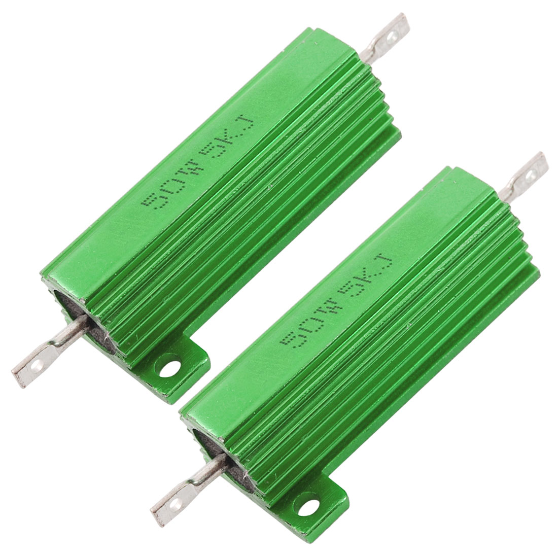 2 x Chassis Mounted 50W 5K Ohm 5% Aluminum Case Wirewound Resistors