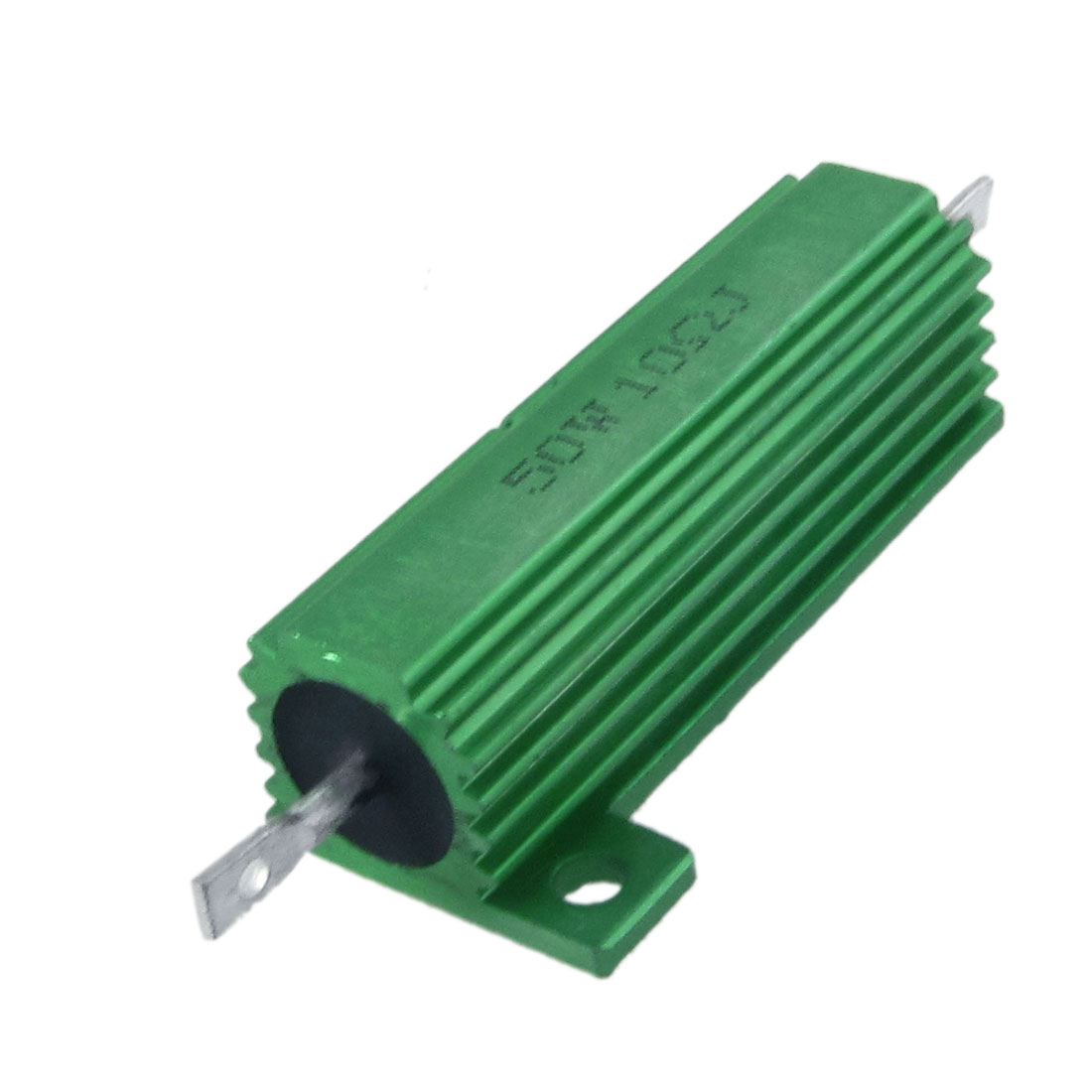 2 x Chassis Mounted 50W 10 Ohm 5% Aluminum Case Wirewound Resistors Green