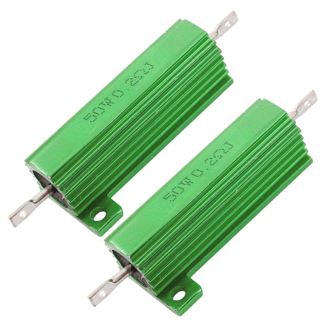 2 x Chassis Mounted 50W 0.2 Ohm 5% Aluminum Case Wirewound Resistors
