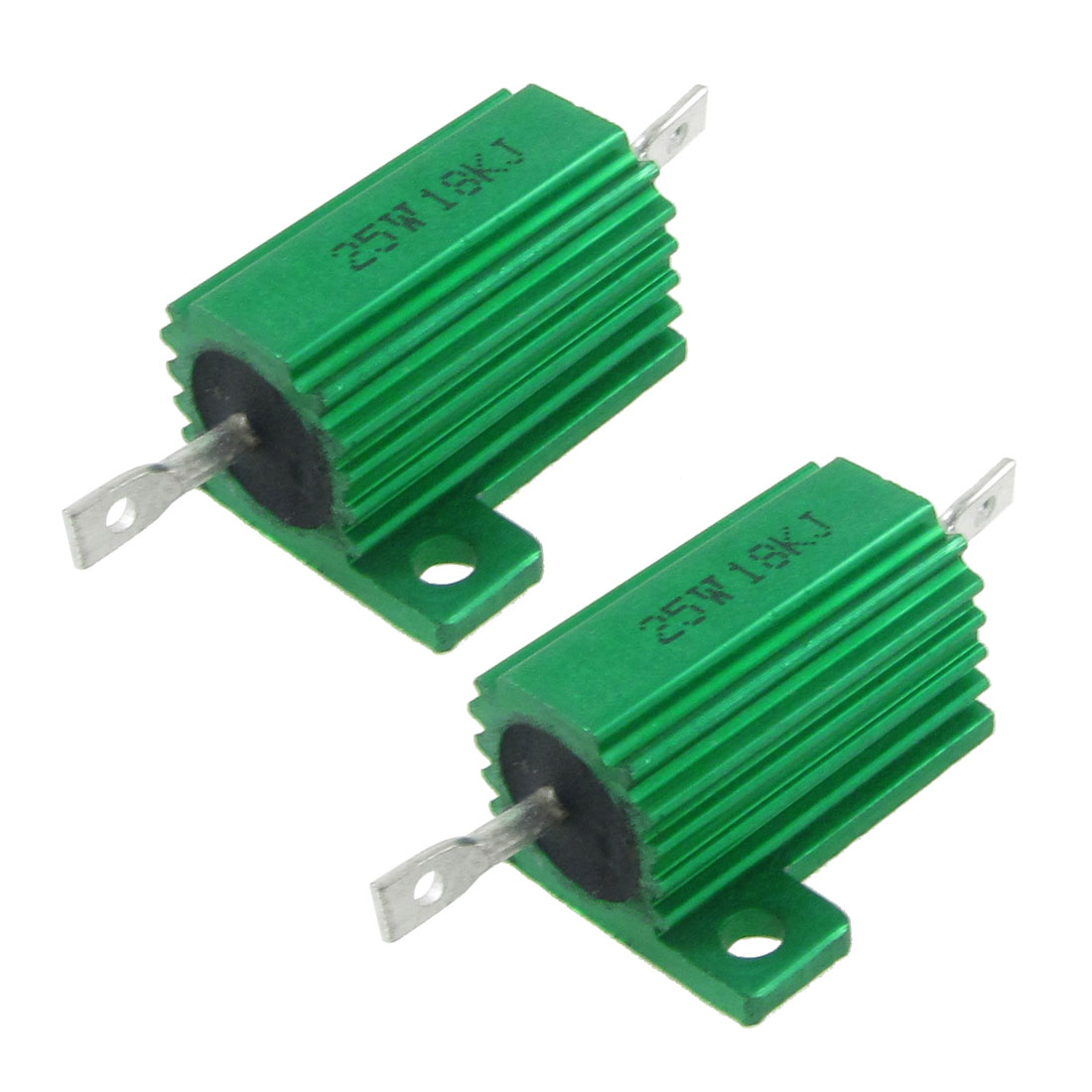 2 Pcs Chassis Mounted Green Aluminum Clad Wirewound Resistors 25W 18K Ohm 5%