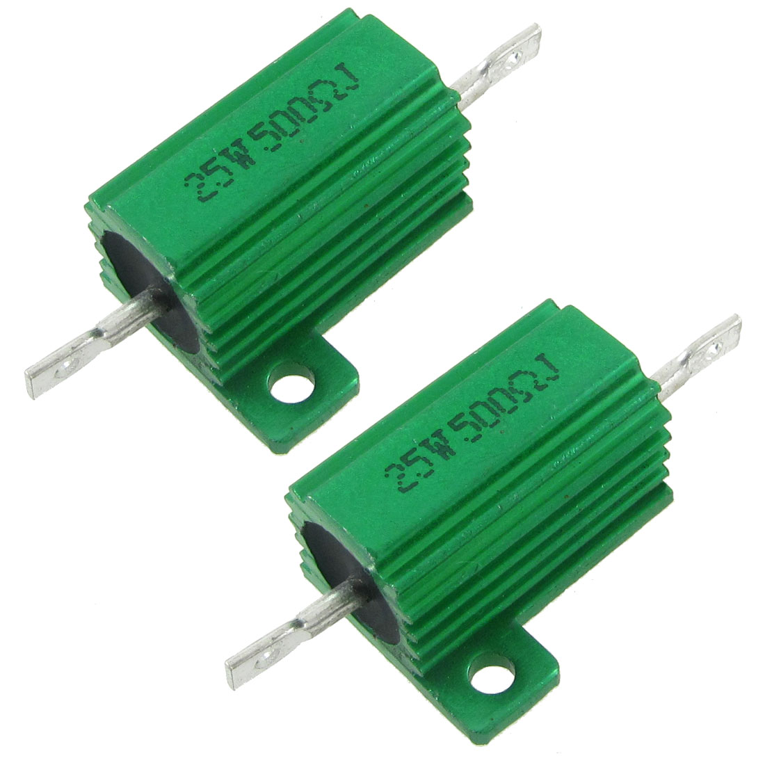 2 Pcs Chassis Mounted Green Aluminum Clad Wirewound Resistors 25W 500 Ohm 5%