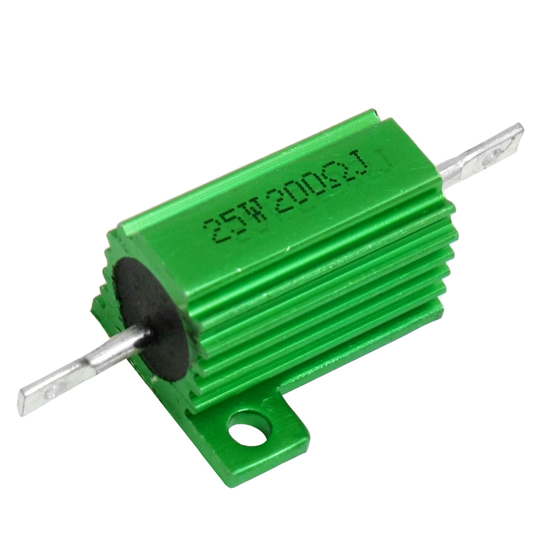 Green Aluminum Housed Clad Wirewound Resistor 5% 200 Ohm 25 Watt