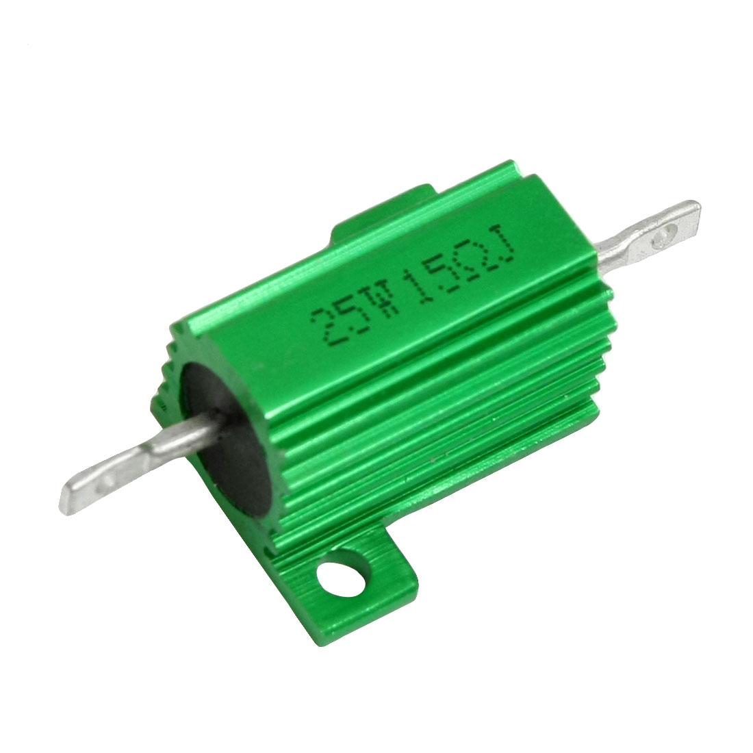 Green Aluminum Housed Clad Wirewound Resistor 5% 15 Ohm 25 Watt