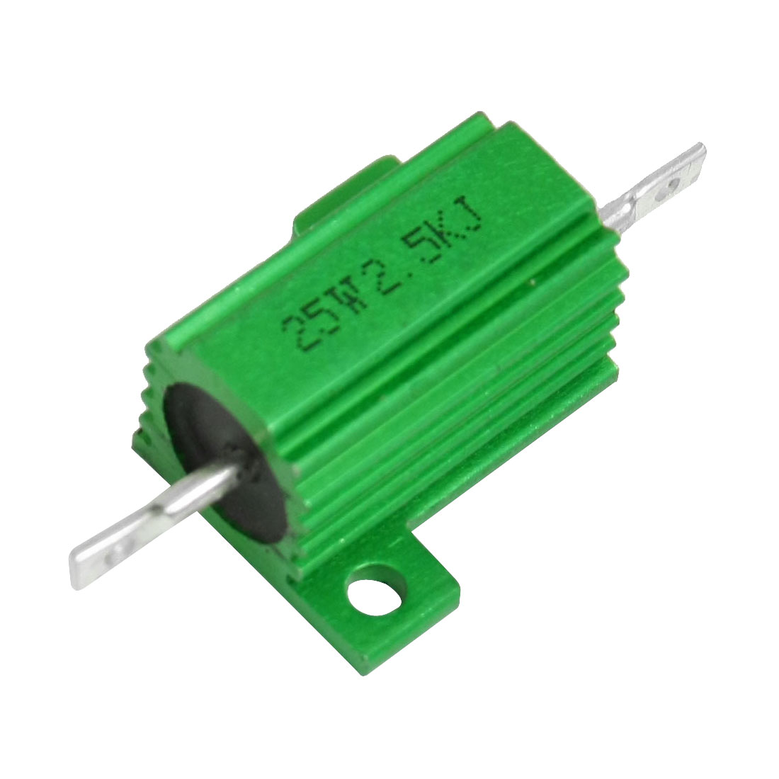 25W Power 2.5K Ohm 5% Chassis Mount Green Aluminium Clad Resistor