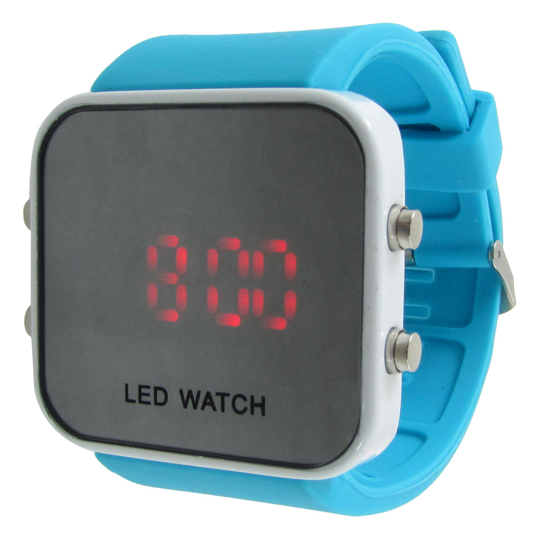 Girl Blue Silicone Strap Red LED Digital Sports Watch