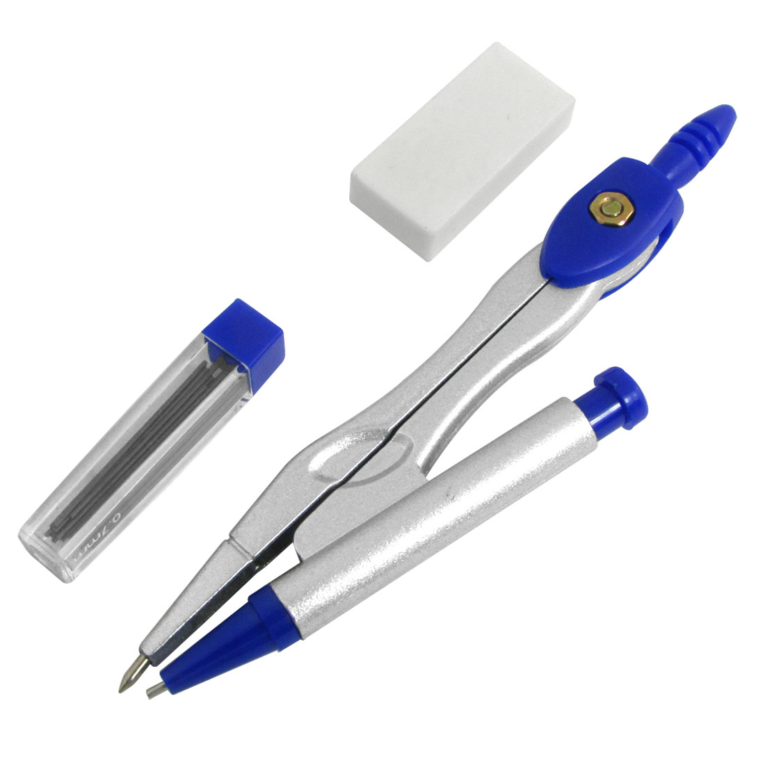 Blue Grey Metal Propelling Pencil Compasses Geometry Tools Set w Case