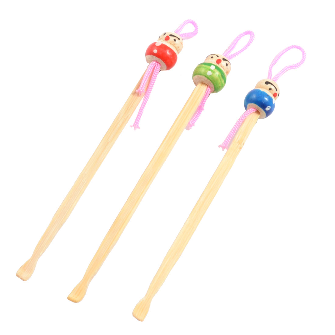 3 Pcs Bamboo Colorful Painting Doll Pattern Earpicks Pendants