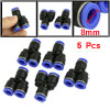 8mm Tubing Y Shaped Joint Pneumatic Quick Push in Fittings 5 Pcs