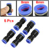 5 Pcs Full Port Pipe Quick Connector 6mm to 8mm Pneumatic Fittings