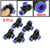 5 Pcs 6mm to 6mm Push in Quick Connect One Touch Tee Fittings