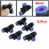 5 Pcs 4mm to 4mm T Shaped One Touch Fitting Push in Quick Connector