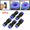 5 Pcs 4mm to 6mm Push In Fitting One Touch Straight Union