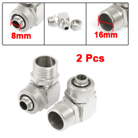 "2 Pcs 3/8"" PT Thread 90 Degree Elbow Quick Connector for 8mm x 12mm Tubing"