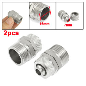 "7mm x 10mm Tubing 3/8"" PT Thread Pneumatic Quick Coupler Straight Connector 2 Pcs"