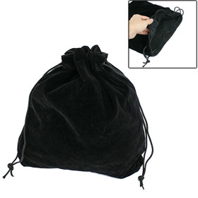 Black Velvet Fleece Drawstring Bag Camera Lens Sleeve Pouch 30cm x 28cm