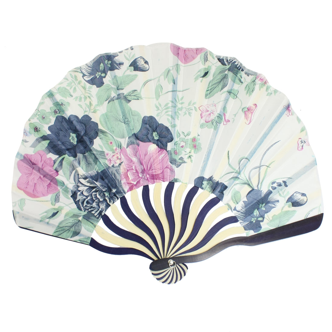 Blue Pink Flowers Print White Blue Curve Bamboo Handle Folded Hand Fan