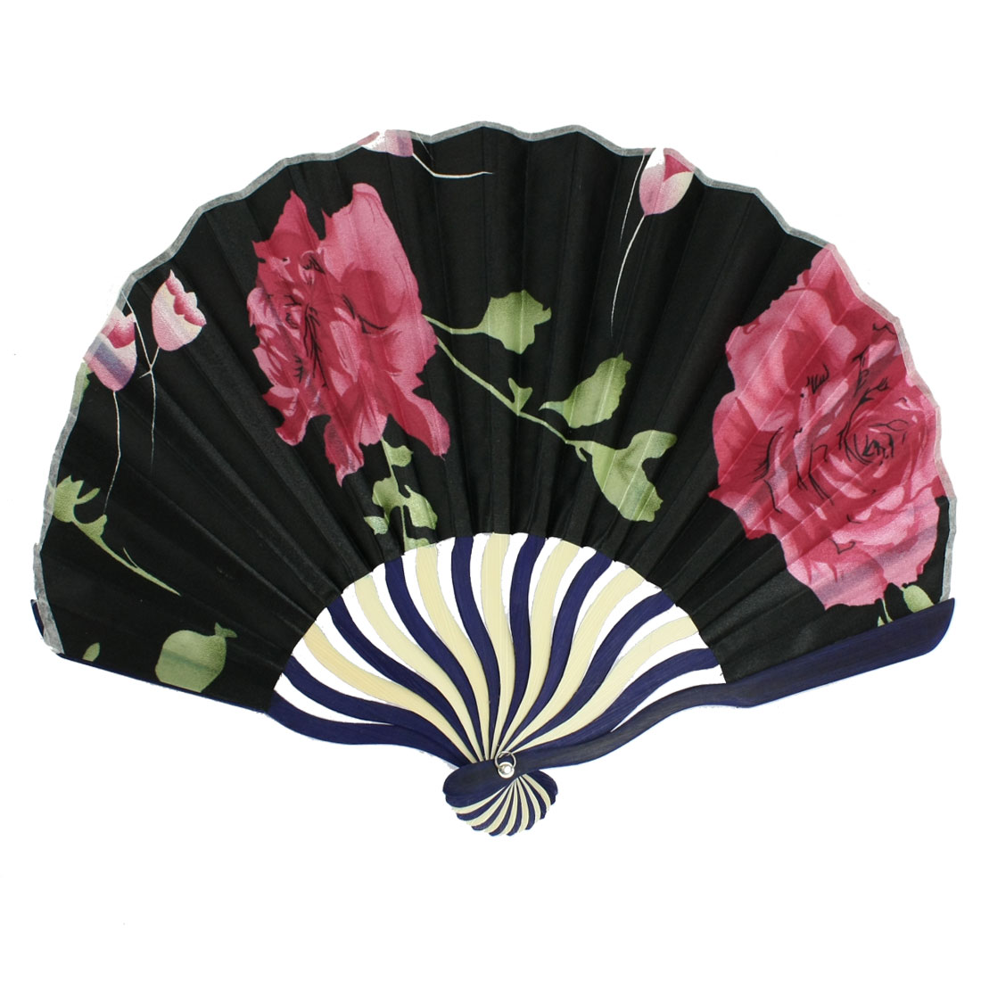 Black Nylon 2 Red Peonies Printing Curve Bamboo Handle Folded Hand Fan