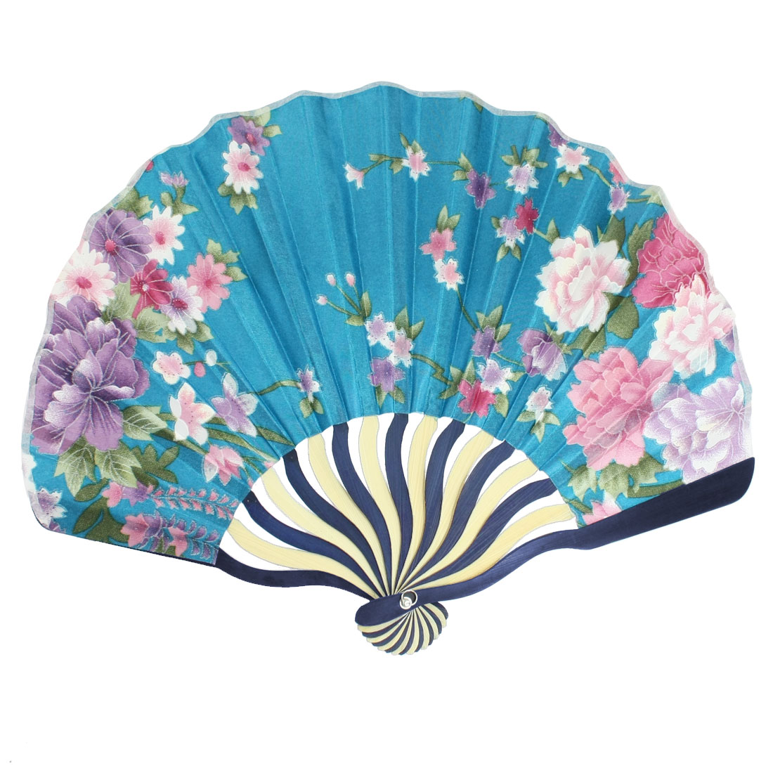 Teal Blue Nylon Purple White Pink Flowers Print Folded Hand Fan