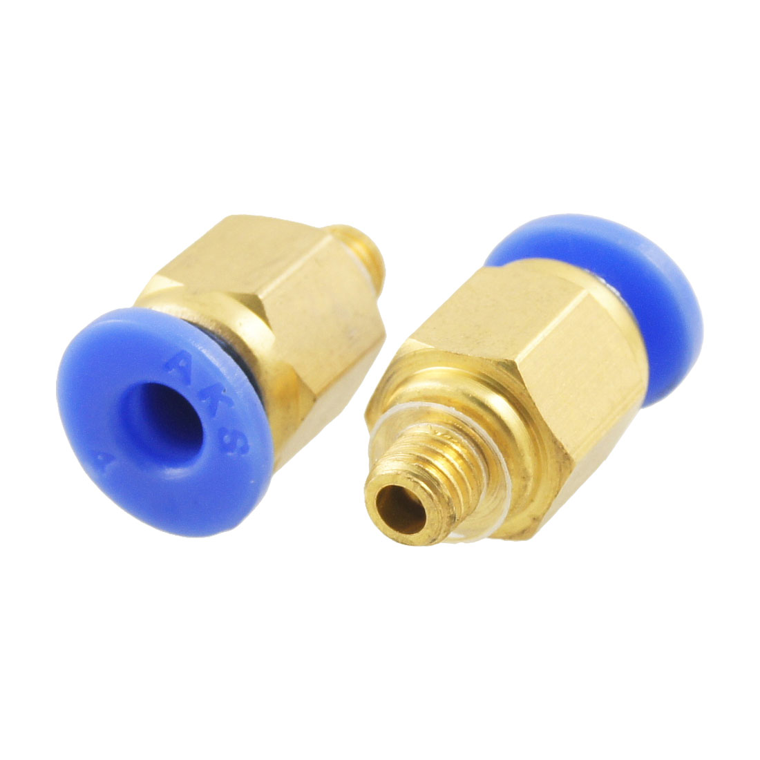 2 Pcs 4mm Pneumatic Tubing Push to 4.8mm Thread Quick Fittings