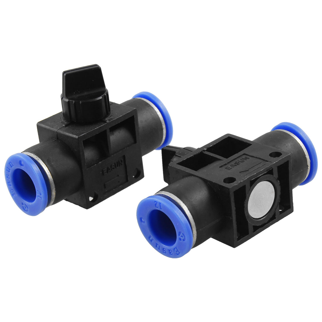 2 Pcs 12mm to 12mm One Touch Fitting Pneumatic Connector Hand Valve
