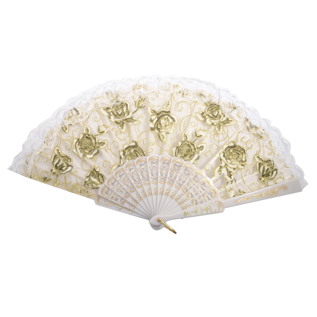 White Lace Hem Plastic Rib Rose Pattern Gauze Dancing Hand Fan