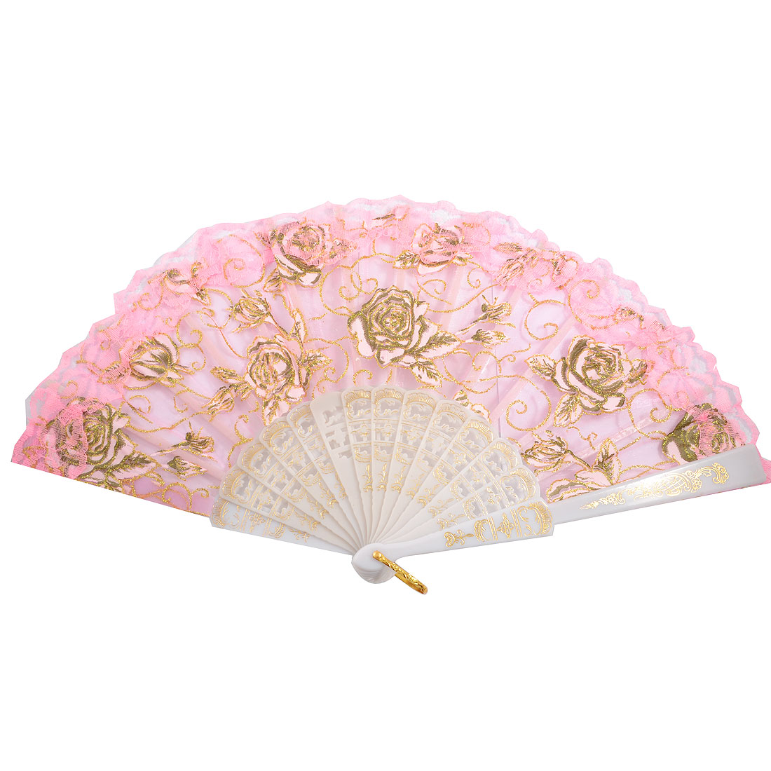 Foldable Pink Gauze Hollow out Handle Dance Hand Fan