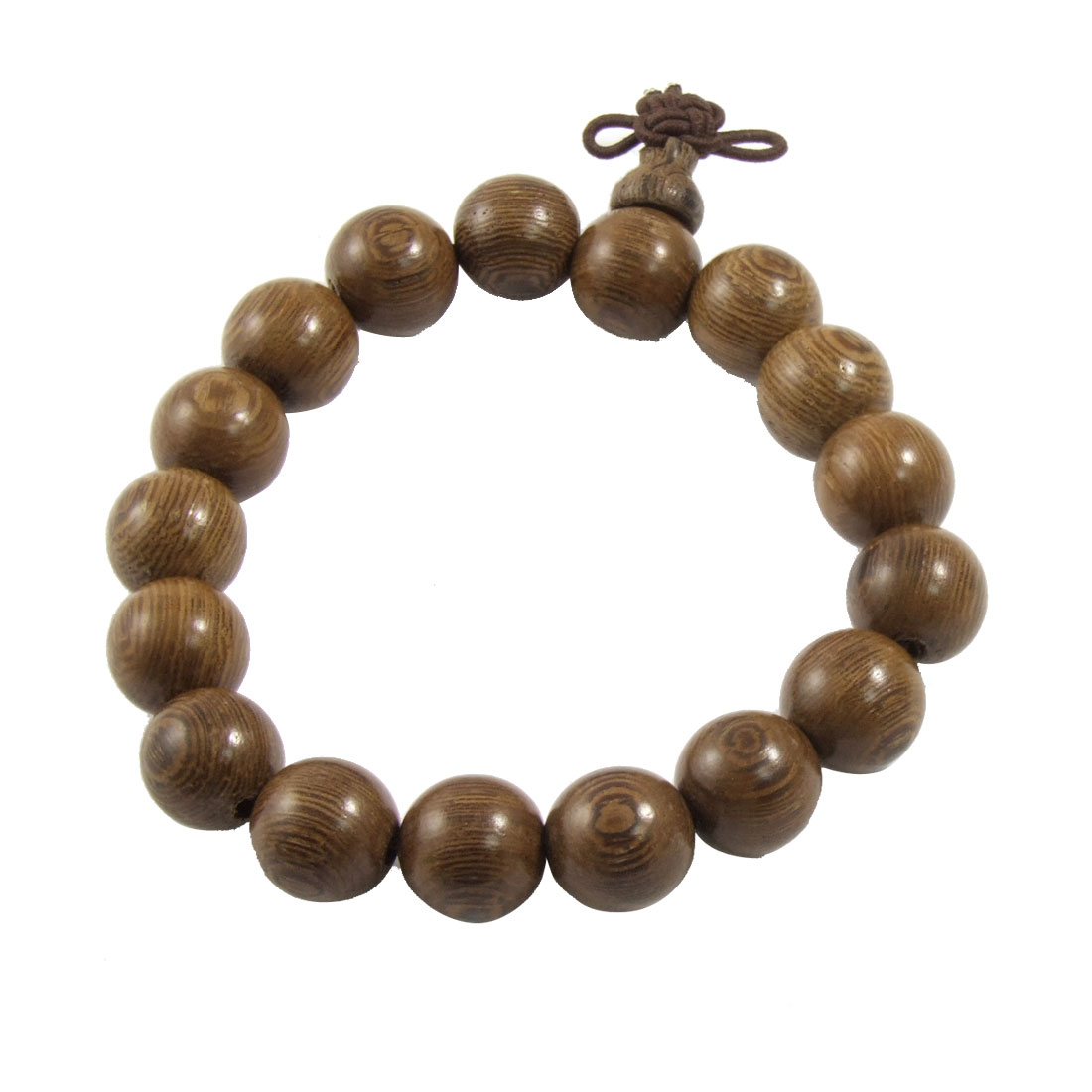 Buddhist Brown 11mm Diameter Wooden Beads Elastic Bracelet