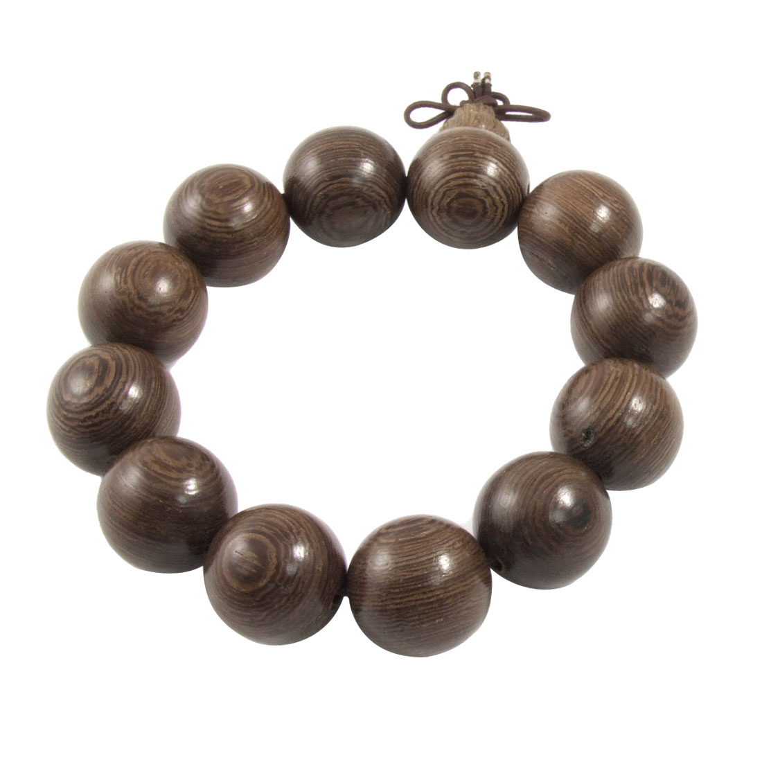 Brown 19mm Dia Wood Round Beads Growth Ring Detail Elastic Beacelet