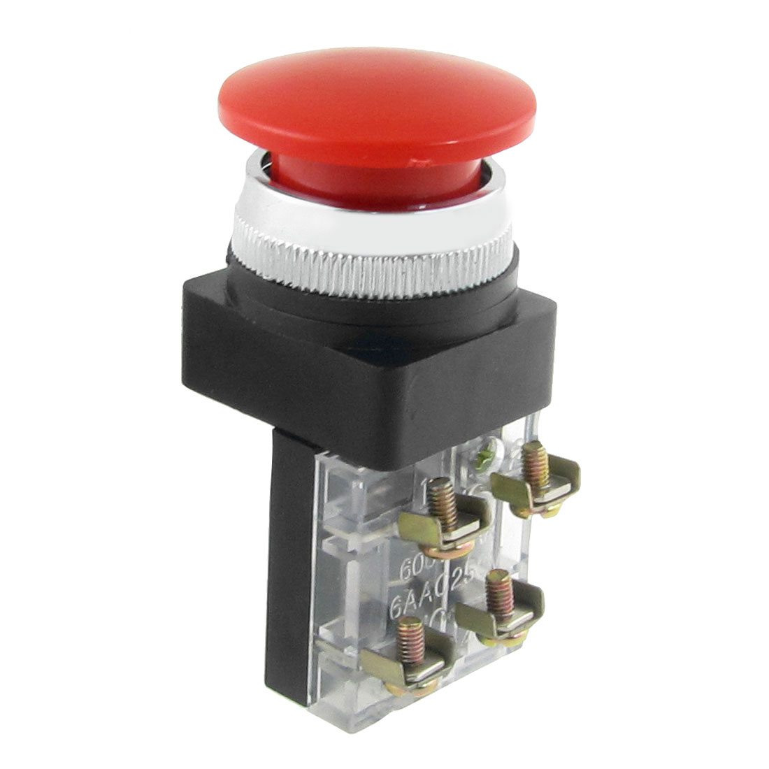 "AC 600V 6A 38mm 1.5"" Red Sign Momentary Mushroom Push Button Switch 1 NO 1 NC"