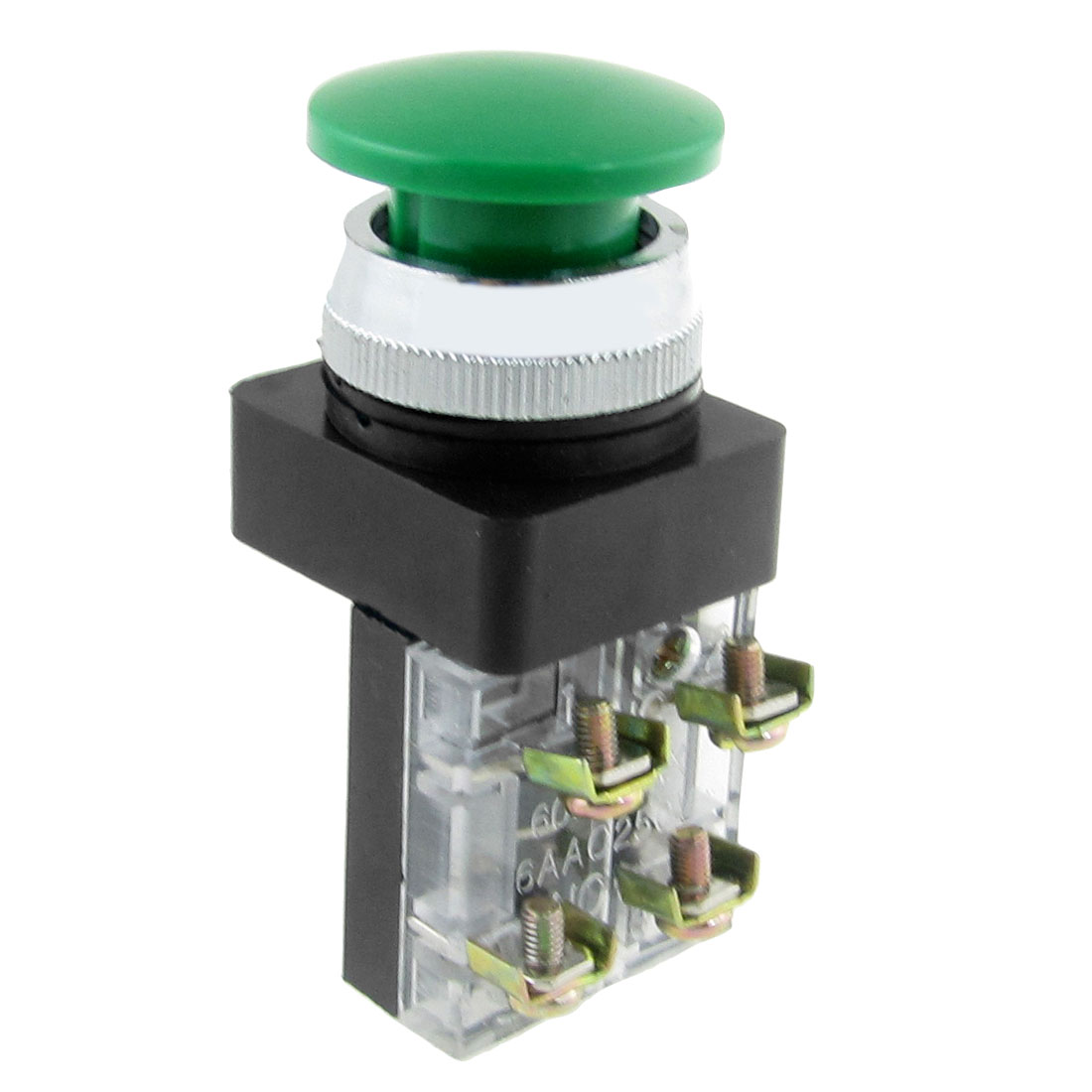 AC 250V 6A Emergency Stop Green Mushroom Momentary Push Button Switch 1NO 1NC