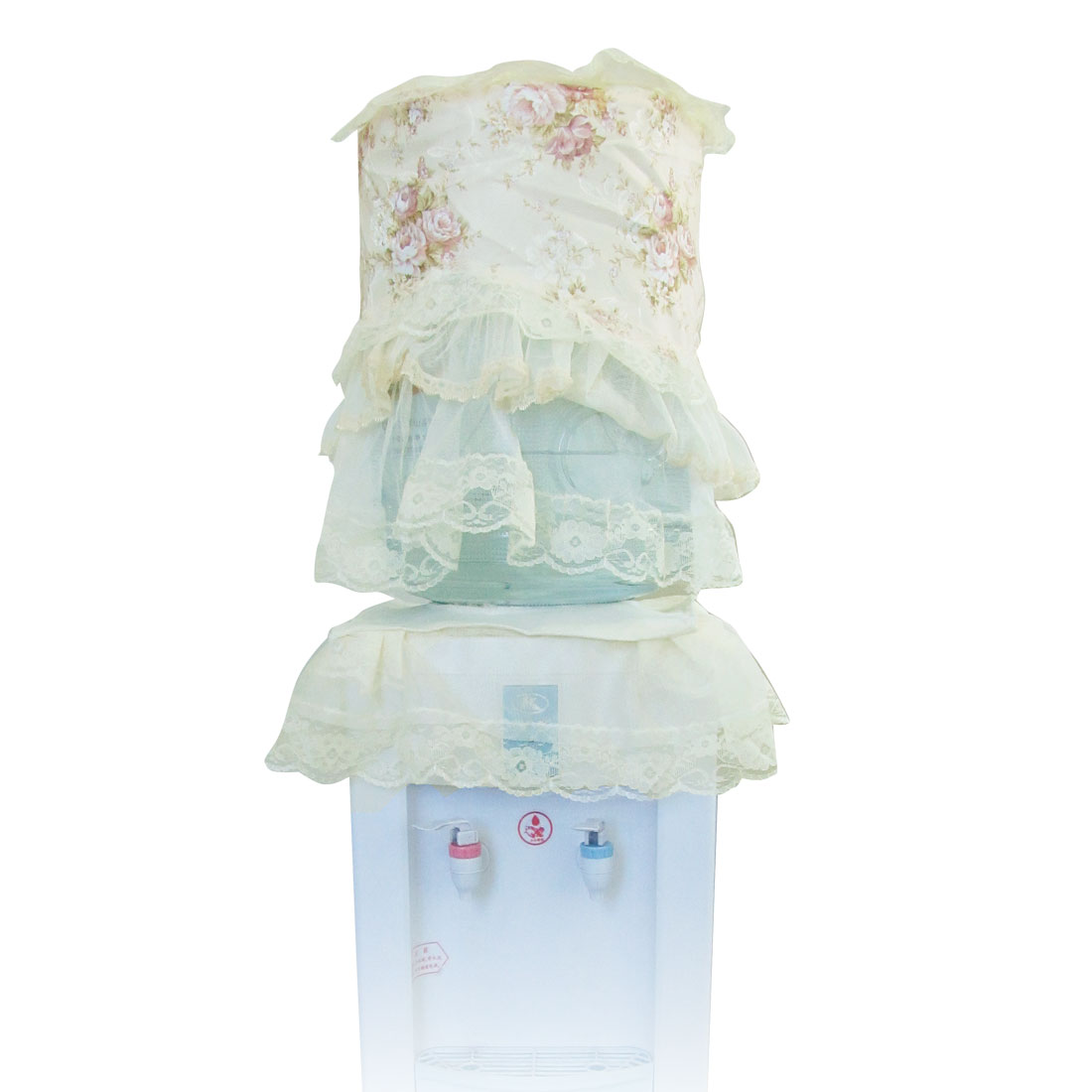 Floral Prints Ivory Lace Overlay Water Dispenser Anti-dust Cover Set
