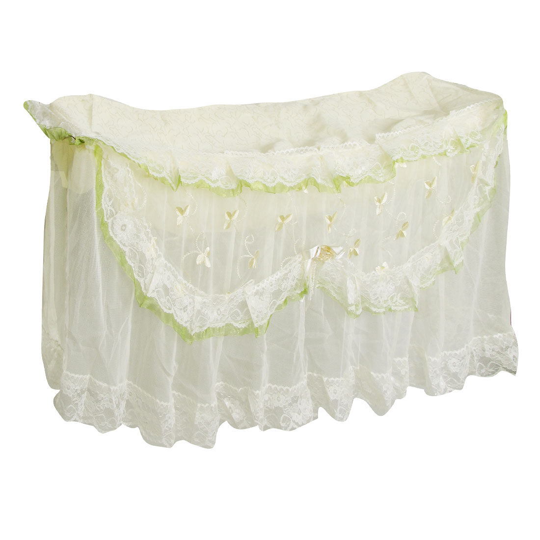 Lemon Yellow Flower Decor Ivory Lace Overlay Wall Mounted Air Conditioner Cover